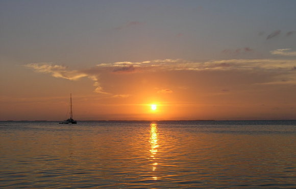 south water caye belize sunset