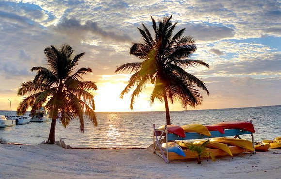 sunset Black bird caye resort belize