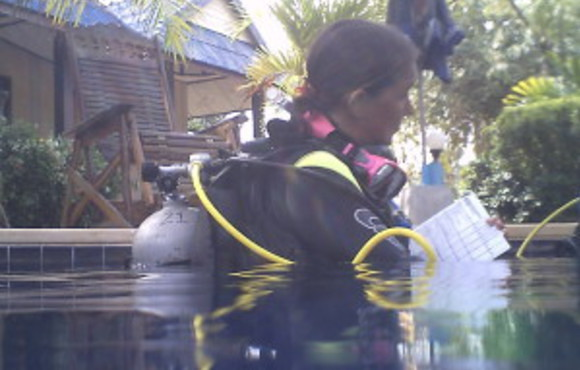 scuba instructor in pool